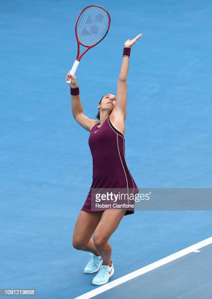 Caroline Garcia of France serves to Sofia Kenin of the USA during day four of the 2019 Hobart International at Domain Tennis Centre on January 08...