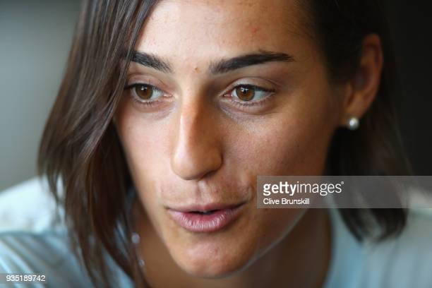 Caroline Garcia of France speaks to the press at the media all access hour during the Miami Open Presented by Itau at Crandon Park Tennis Center on...