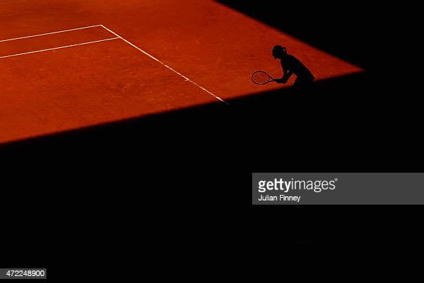 Caroline Garcia of France waits to return serve against Karolina Pliskova of Czech Republic during day four of the Mutua Madrid Open tennis...