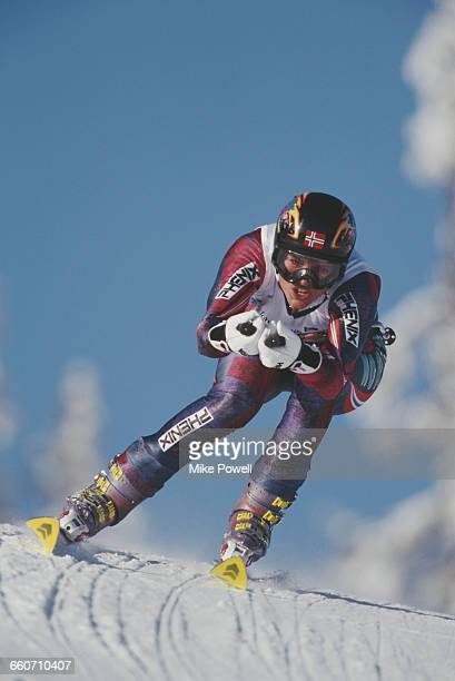 Caroline Gedde-Dahl of Norway skiing the Women's Giant Slalom event on 15 February 1994 during the XVII Olympic Winter Games in Kvitfjell Alpine...