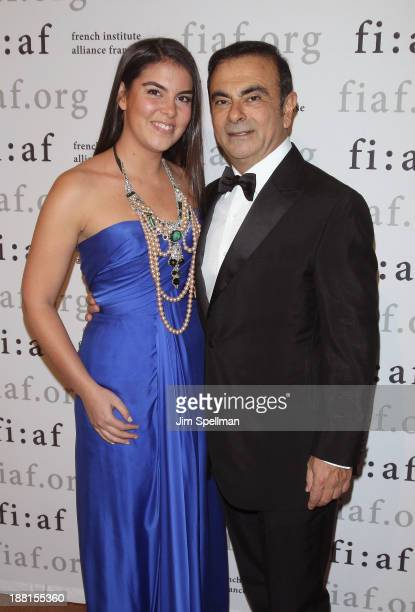 Caroline Ghosn and businessman Carlos Ghosn attend the 2013 Trophee Des Arts gala on November 15 2013 in New York City