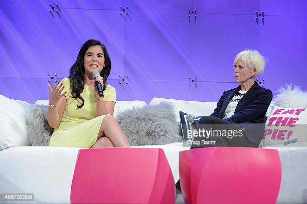 Caroline Ghosn CoFounder CEO of Levo and Joanna Coles Editor in Chief of Cosmopolitan speak onstage during Cosmopolitan Magazine's Fun Fearless Life...