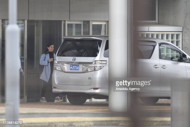 Caroline Ghosn daughter of Carlos Ghosn former chairman of Nissan Motor Co who was released on bail after 108 days in detention walks out of Tokyo...