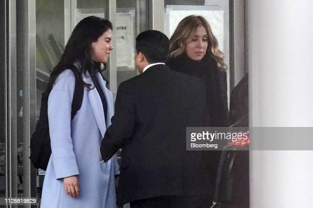 Caroline Ghosn daughter of former Nissan Motor Co Chairman Carlos Ghosn left and Carole Ghosn wife of Carlos Ghosn right leave the Tokyo Detention...