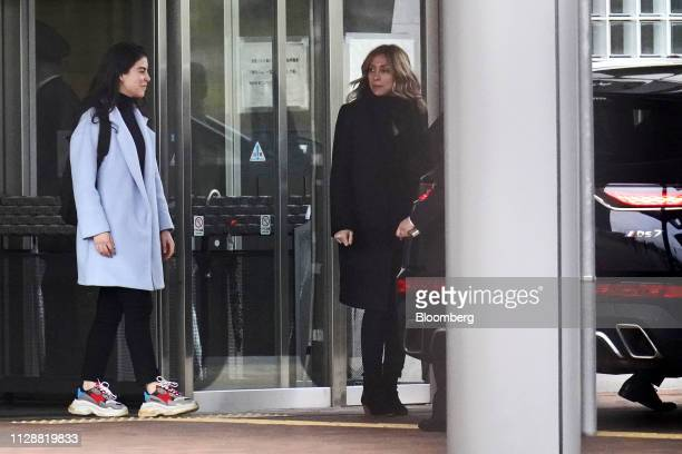 Caroline Ghosn daughter of former Nissan Motor Co Chairman Carlos Ghosn left and Carole Ghosn wife of Carlos Ghosn leave the Tokyo Detention House in...