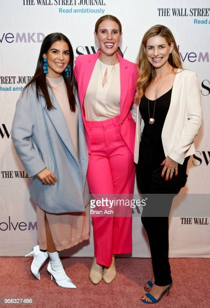Caroline Ghosn Maxie McCoy and Ellen Lorenzo are seen at the SWAAY x WSJ x EvolveMKD The Future Is Now event at Glass Houses on May 8 2018 in New...