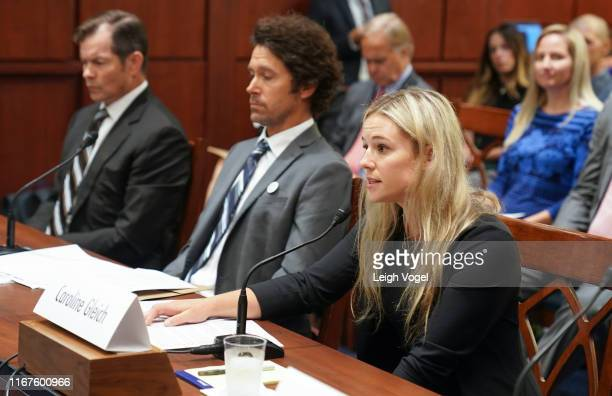 Caroline Gleich testifies before the Democrats Special Committee on the Climate Crisis during Pro Athletes Join Protect Our Winters Action Fund In...