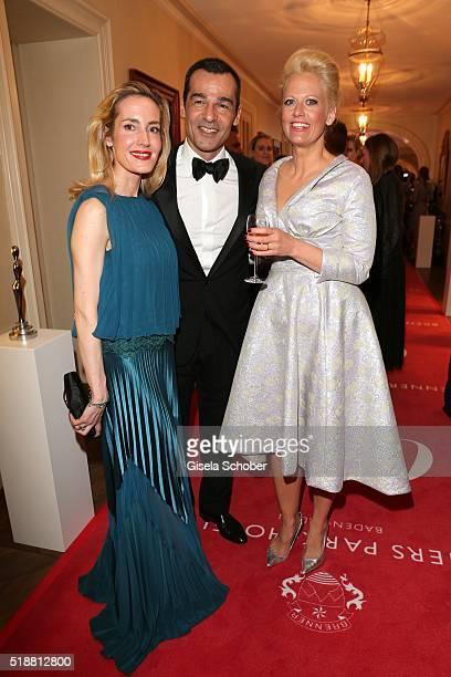Caroline Goddet her husband Erol Sander and Barbara Schoeneberger during the Gala Spa Awards on April 2 2016 in BadenBaden Germany