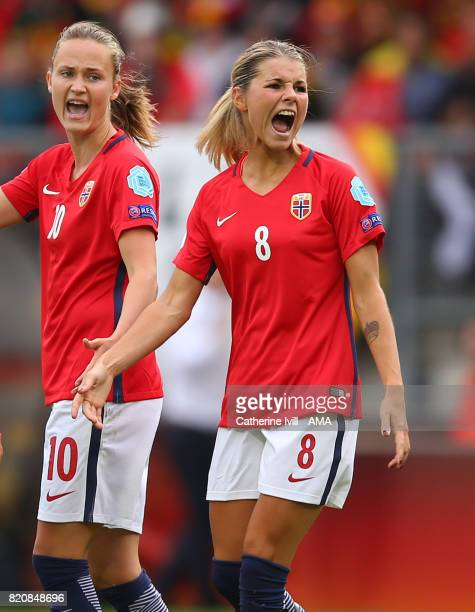 Caroline Graham Hansen and Andrine Hegerberg of Norway Women shout during the UEFA Women's Euro 2017 match between Norway and Belgium at Rat Verlegh...