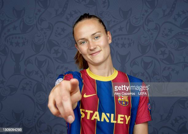 Caroline Graham Hansen of Barcelona poses during the UEFA Women's Champions League Portraits at Barcelona Training Ground on March 18, 2021 in...