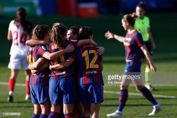 Caroline Graham Hansen of FC Barcelona celebrates scoring his side's 3rd goal during the Primera Division Femenina match between FC Barcelona and...