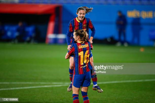 Caroline Graham Hansen of FC Barcelona celebrating a goal with 14 Aitana Bonmati of FC Barcelona during the UEFA Champions League Women match between...