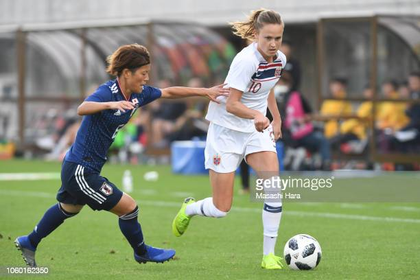 Caroline Graham Hansen of Norway and Saori Ariyoshi of Japan compete for the ball during the international friendly match between Japan and Norway at...