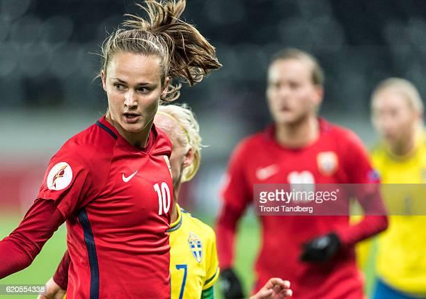 Caroline Graham Hansen of Norway during Norway v Sweden Women International Friendly at S¿r Arena on October 24 2016 in Kristiansand Norway