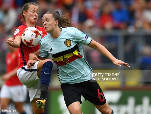 Caroline Graham Hansen of Norway fights for the ball with Tine De Caigny of Belgium during the UEFA Womens Euro 2017 football tournament match...
