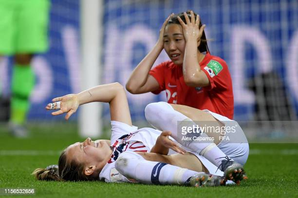Caroline Graham Hansen of Norway goes down injured after being fouled by Chaerim Kang of Korea Republic inside the penalty area which leads to Norway...