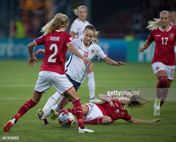 Caroline Graham Hansen of Norway Line Roddik Hansen Line Sigvardsen Jensen during the UEFA Womens«s Euro between Norway v Denmark at Stadion De...
