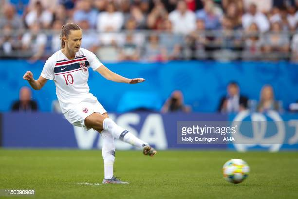 Caroline Graham Hansen of Norwayscores a goal to make it 01 from a penalty during the 2019 FIFA Women's World Cup France group A match between Korea...