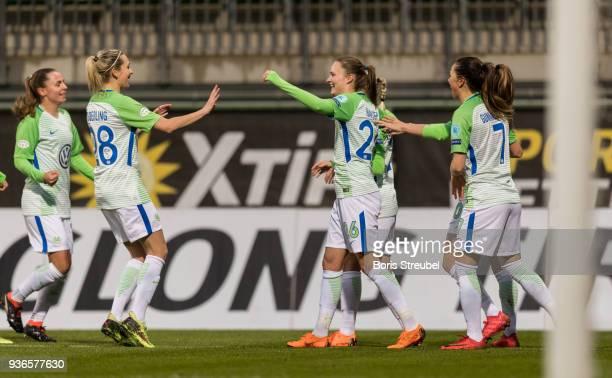 Caroline Graham Hansen of VfL Wolfsburg celebrates with team mates after scoring her team's second goal during the UEFA Women's Champions League...