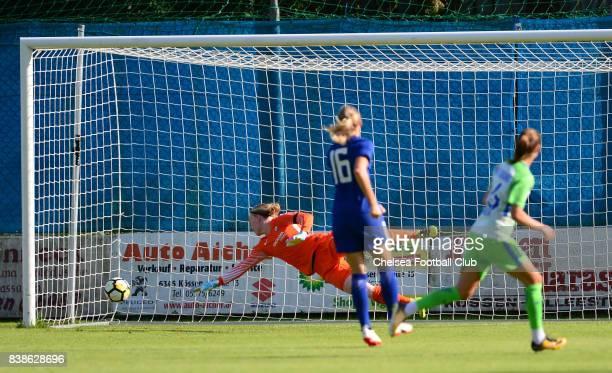 Caroline Graham Hansen of Wolfsburg puts it past Hedvig Lindhal of Chelsea to make it 10 during a Pre Season Friendly between Chelsea Ladies and...