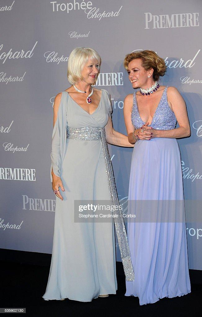 Caroline Gruosi- Scheufele and Helen Mirren at the Chopard Trophy during the 63rd Cannes International Film Festival.