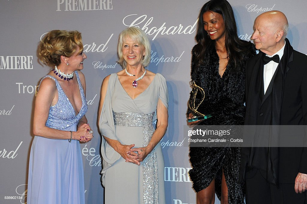 Caroline Gruosi- Scheufele, Helen Mirren, Liya Kebede and Gilles Jacob at the Chopard Trophy during the 63rd Cannes International Film Festival.