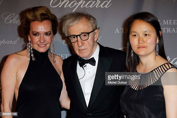 Caroline Gruosi Scheufele, Woody Allen and Soon-Yi Previn attend at the Chopard Lounge Party, at Hotel Martinez, during the 63th international film...