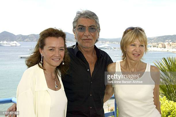 Caroline GruosiScheufele and Roberto Cavalli during 2003 Cannes Film Festival Chopard and Roberto Cavalli Press Day at Martinez in Cannes France