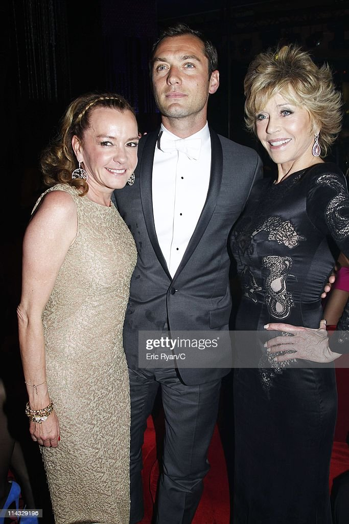 Caroline Gruosi-Scheufele, Jude Law and Jane Fonda attend the Diamonds Are Girls Best Friend event during the 64th Annual Cannes Film Festival held at Hotel Martinez on May 16, 2011 in Cannes, France. on May 18, 2011 in Cannes, France.