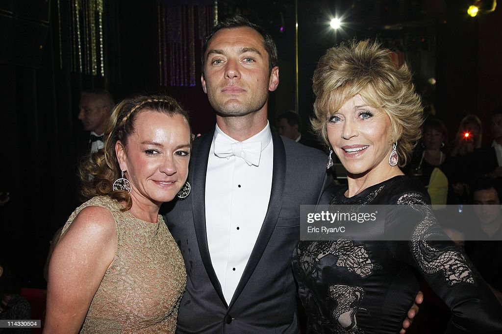 Caroline Gruosi-Scheufele, Jude Law and Jane Fonda attend the Diamonds Are Girls Best Friend event during the 64th Annual Cannes Film Festival held at Hotel Martinez on May 16, 2011 in Cannes, France.
