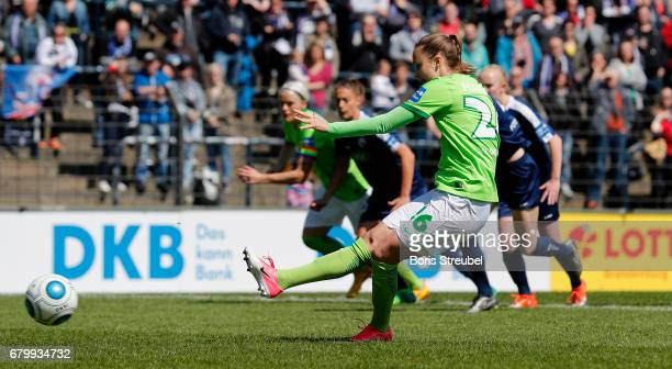 Caroline Hansen of VfL Wolfsburg scores her team's first goal by penalty during the Allianz Women's Bundesliga match between Turbine Potsdam and VfL...