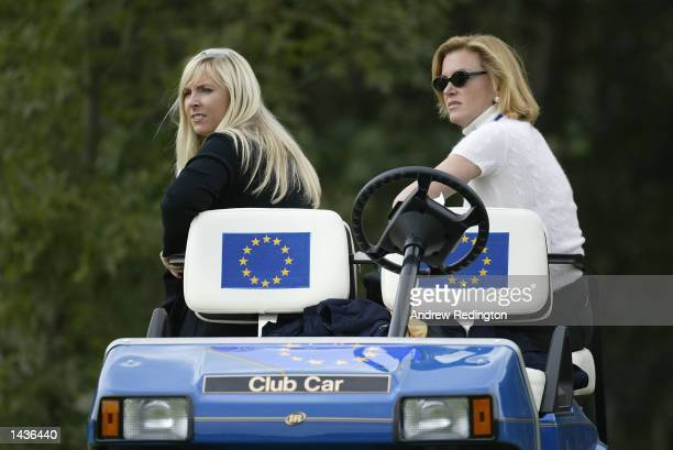 Caroline harrington and Eimear Montgomerie watch their husbands in action during the afternoon fourball matches on the second day of the 34th Ryder...