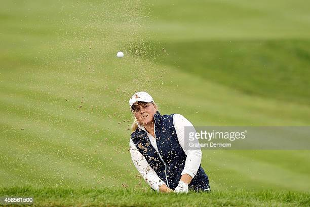Caroline Hedwall of Sweden hits a shot from the bunker during day two of the 2014 Reignwood LPGA Classic at Reignwood Pine Valley Golf Club on...