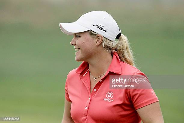 Caroline Hedwall of Sweden smiles during the final round of the Reignwood LPGA Classic at Pine Valley Golf Club on October 6 2013 in Beijing China