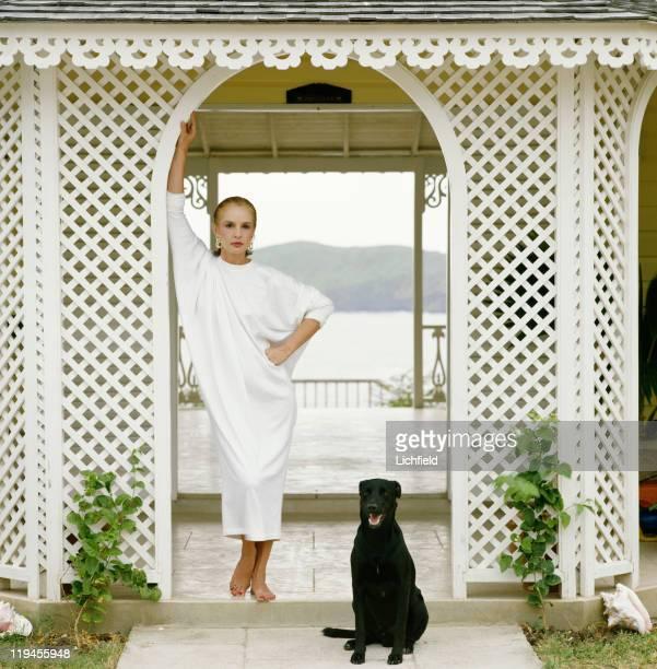 Caroline Herrera, Venezualan born fashion designer, Mustique, West Indies, 23rd February 1985.