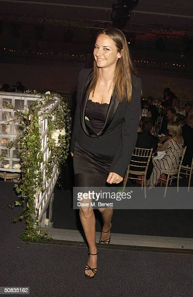 Caroline Hickman attends a London fundraising bash for the Conservative Party on May 13 2004 at the Shepherds Bush Pavilion in London