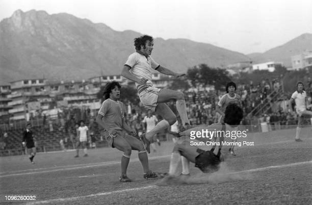 Caroline Hill's Eddie Loyden scores his team's winning goal during a league game against Tung Sing at the Police Ground Stadium Caroline Hill won 21...