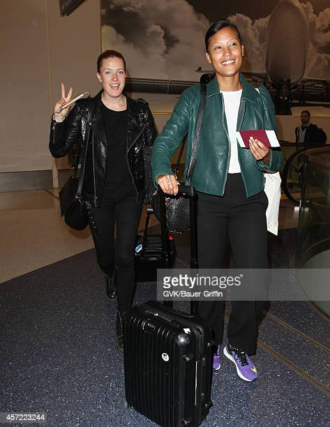 Caroline Hjelt and Aino Jawo of Icona Pop are seen at LAX on October 14, 2014 in Los Angeles, California.