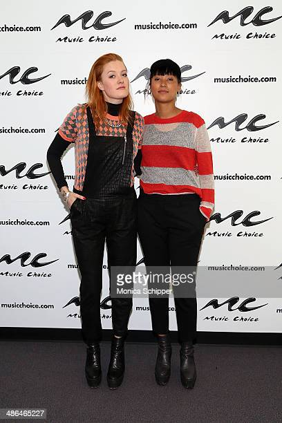 Caroline Hjelt and Aino Jawo of Icona Pop Celebrate Bring Your Kid To Work Day at Music Choice on April 24 2014 in New York City