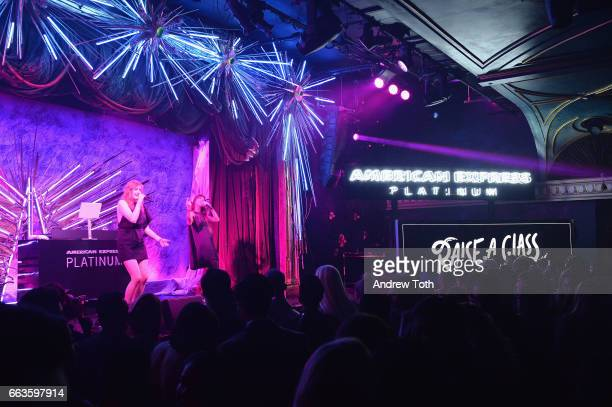 Caroline Hjelt and Aino Jawo of Icona Pop perform at the American Express Celebrates The New Platinum Card With Hamilton Takeover Experience on April...