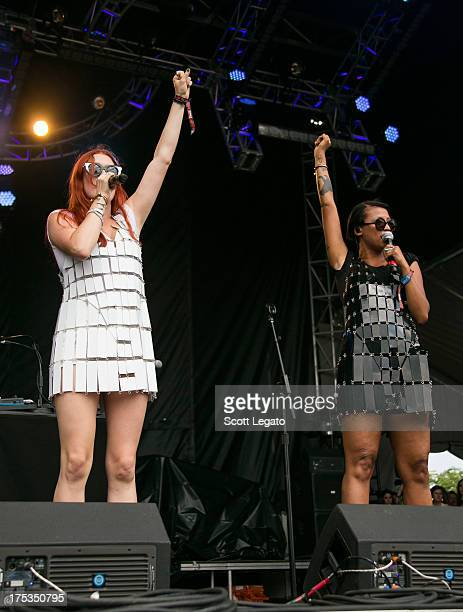 Caroline Hjelt and Aino Jawo of Icona Pop perform during Lollapalooza 2013 at Grant Park on August 2 2013 in Chicago Illinois