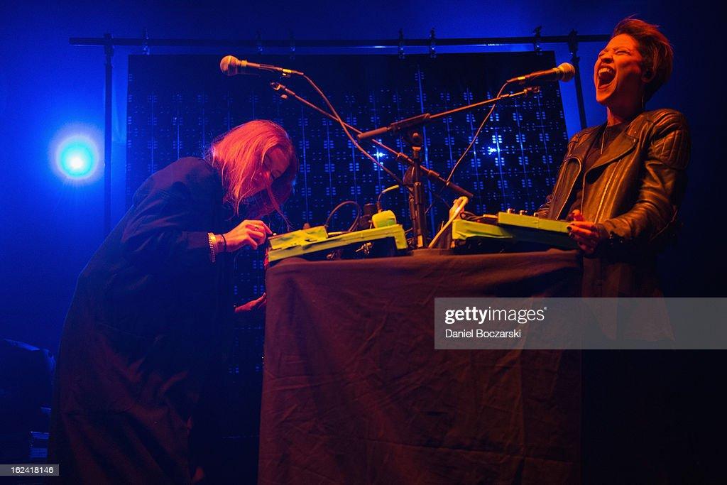 Caroline Hjelt (L) and Aino Jawo of Icona Pop perform on stage at UIC Pavilion on February 22, 2013 in Chicago, Illinois.