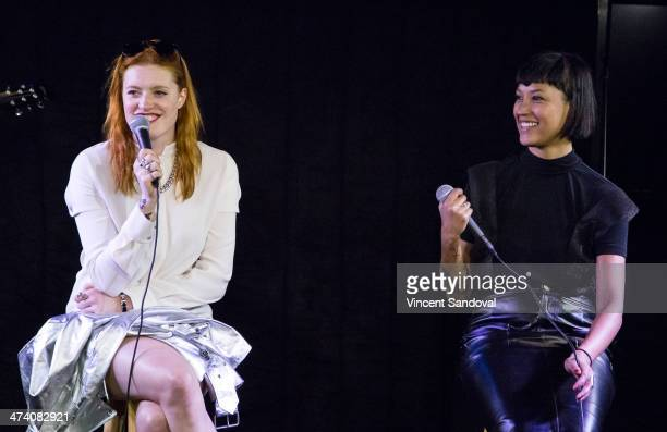 Caroline Hjelt and Aino Jawo of Icona Pop perform onstage during a private session at the 102.7 KIIS FM Soul by Ludacris Headphones Studio at Clear...