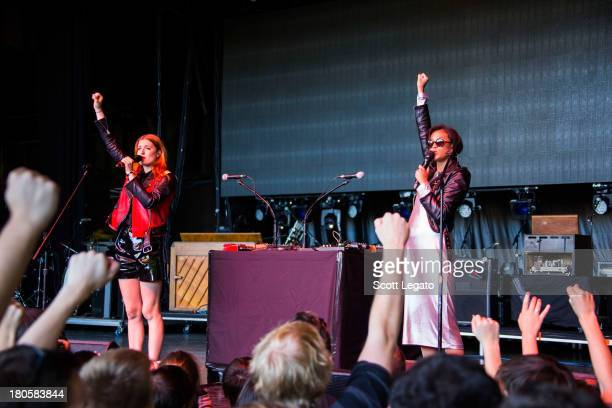 Caroline Hjelt and Aino Jawo of Icona Pop performs during the St Jerome's Laneway Festival at Meadow Brook Music Festival on September 14 2013 in...