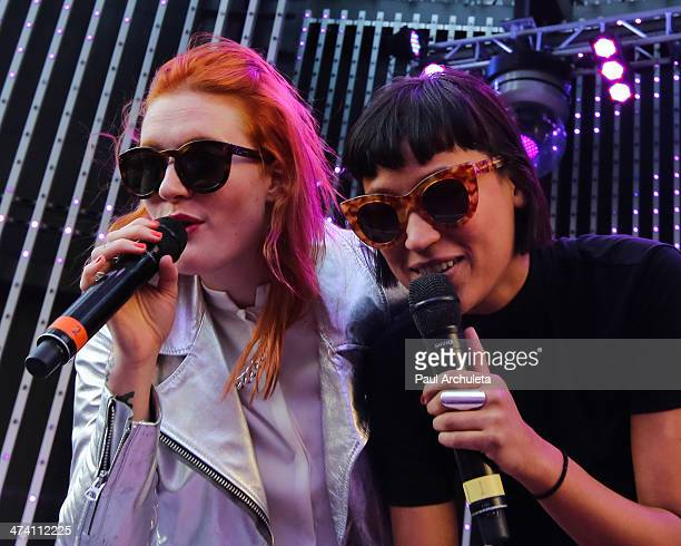 Caroline Hjelt and Aino Jawo of the Girl Group Icona Pop perform live at Universal CityWalk's 5 Towers at 5 Towers Outdoor Concert Arena on February...