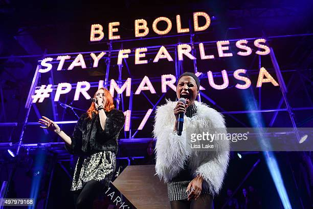 Caroline Hjelt and Aino Jawo, singers of Icona Pop perform at The Keke Palmer & Refinery29 Host Club Primania Event at Skybox Event Center on...