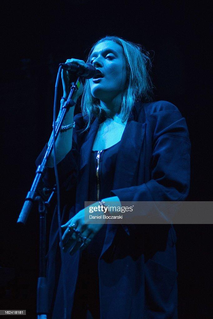 Caroline Hjelt of Icona Pop performs on stage at UIC Pavilion on February 22, 2013 in Chicago, Illinois.