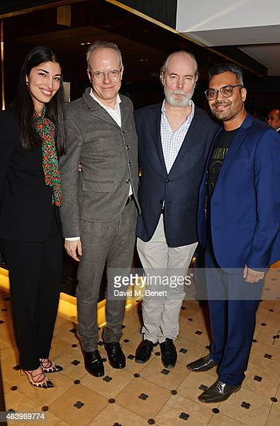 Caroline Issa and authors Hans Ulrich Obrist Douglas Coupland and Shumon Basar attend a dinner hosted by Caroline Issa to celebrate the launch of new...