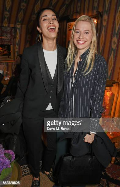 Caroline Issa and guest attend The Fashion Awards 2017 nominees party in partnership with Swarovski at 5 Hertford Street on October 23 2017 in London...