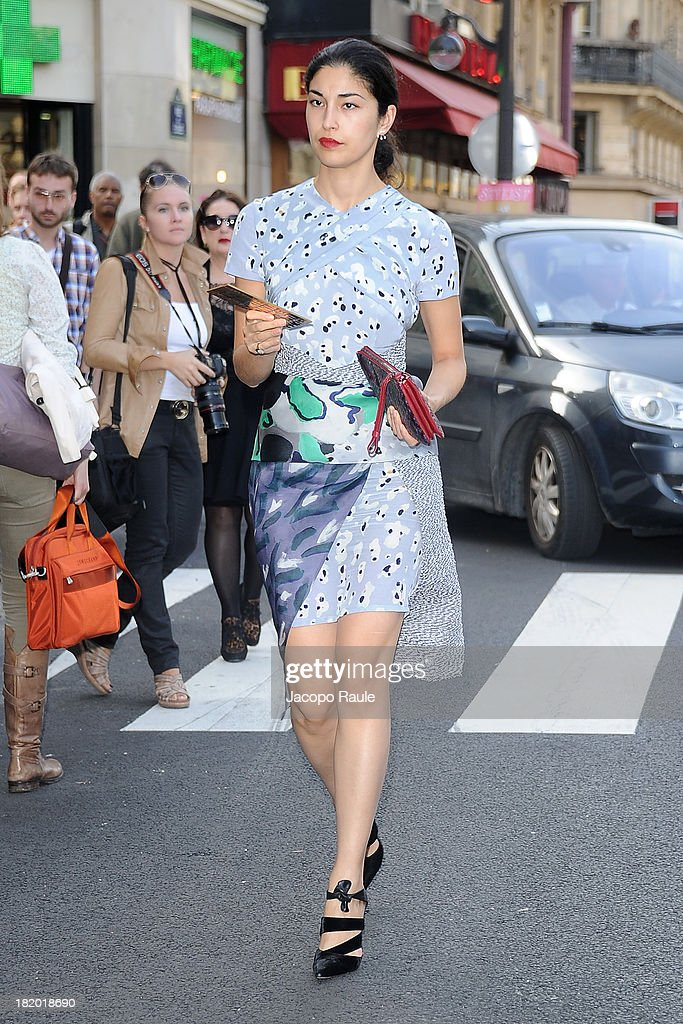 Caroline Issa arrives at Sonia Rykiel Fashion Show during Paris Fashion Week Womenswear SS14 - Day 4 on September 27, 2013 in Paris, France.